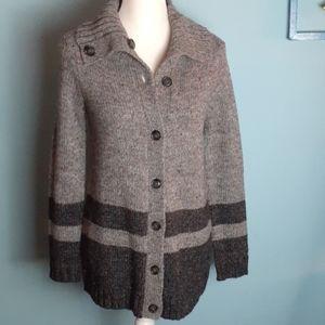 Talbots cardigan button long sweater gray confetti